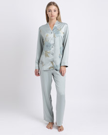 Lila Rose Printed Faux Silk PJ Set Duck Egg Floral Print