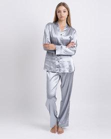 d634f08a30 Lila Rose Faux Silk PJ Set Silver