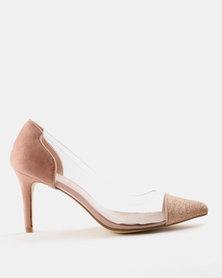 Queenspark Vinyl and Lurex Court Shoes Pink