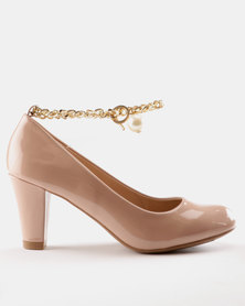Shoes Queenspark Patent Court Shoes with FOB Chain Black KPEYKF