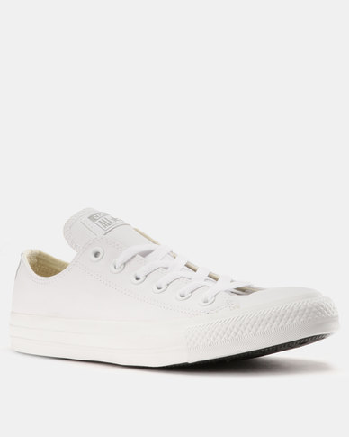 fe18304ff2a3 Converse Chuck Taylor All Star Ox Leather Mono Mens Sneakers White ...