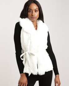 G Couture Gillet With Fur Collar White