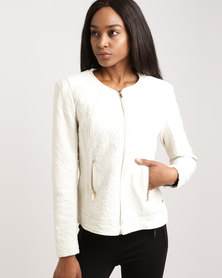 G Couture PU Jacket With Detail White
