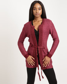 G Couture Burgundy Cardigan Maroon