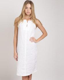 Blu Spiral Sleeveless Linen Dress White