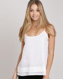Blu Spiral Linen Cami White