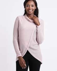 Queenspark Mock Cowl Needle Out Knit Top Pink