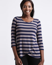 Queenspark Eyelet Stripe Knit Top Taupe