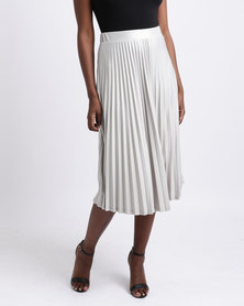 Queenspark Pleated Gold Foil Knit Skirt Pale Gold