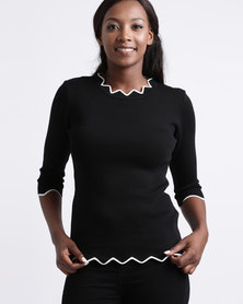 Queenspark Tipped Scalloped Knitwear Top Black & White