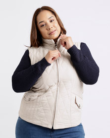 Queenspark Plus Quilted Sleeveless Puffer Woven Jacket Stone