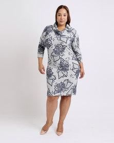 Queenspark Plus Floral Cashmillion Knit Dress Grey