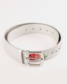 Queenspark Rose Embroidery and Studs Belt Silver