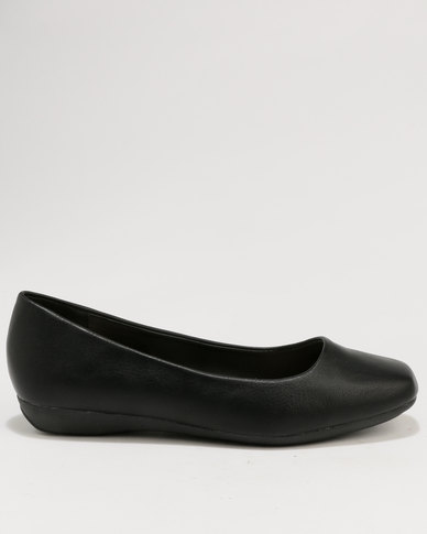 Baldini Square Toe Flat Pump Black