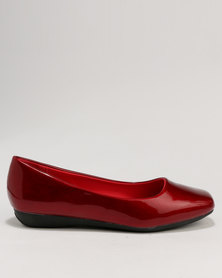 Baldini Square Toe Flat Pump Red