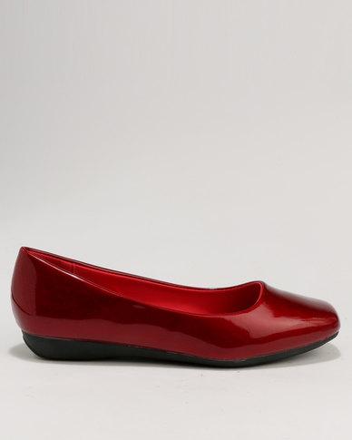 Baldini Square Toe Flat Pump Red
