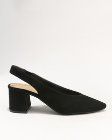 Wild Alice by Queue Sling Back Pointy Court On Block Heel Black