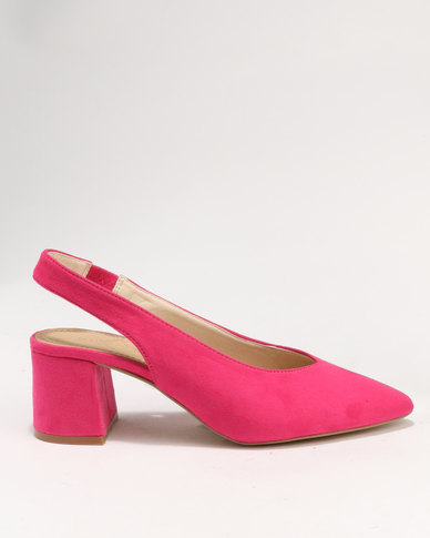 da4fe051ca4 Wild Alice by Queue Sling Back Pointy Court On Block Heel Fuschia ...