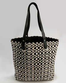 Queue Textile Shopper Bag Black and White