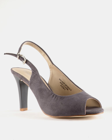 Queue Peeptoe Slingback Heel Grey