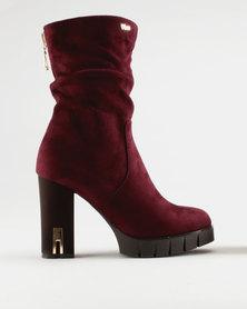 PLUM Harper Block Heel Boot Burgundy