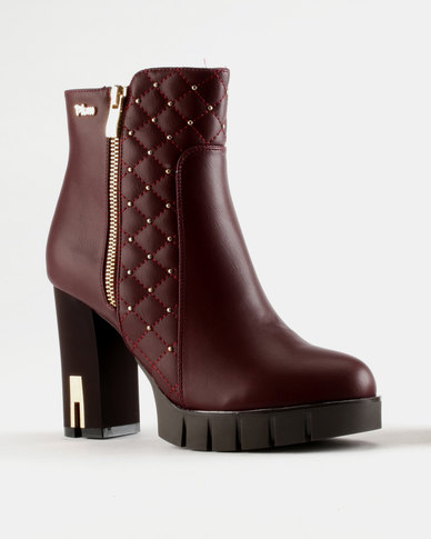 PLUM PLUM Faina Block Heel Boot Burgundy pick a best how much for sale discount affordable hdgPUn8
