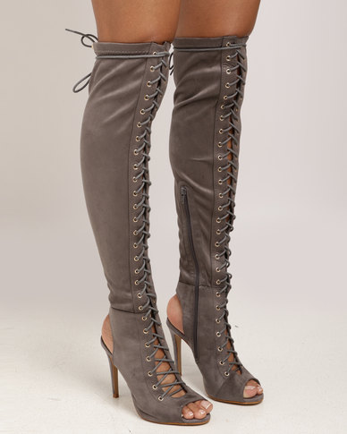 Miss Black Clarissa OTK Boot Grey