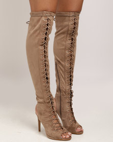 Miss Black Clarissa OTK Boot Taupe