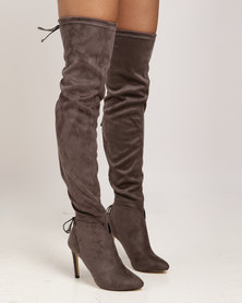 Miss Black Belle OTK Boot Grey