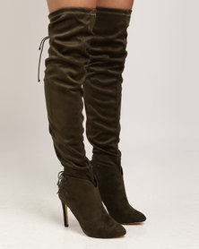 Miss Black Belle OTK Boot Olive