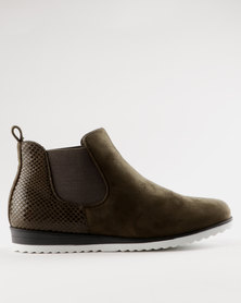 Miss Black Brienne Ankle Boot Olive
