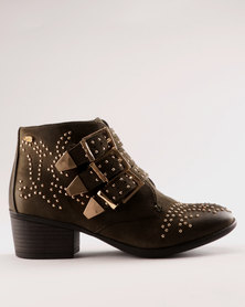 Miss Black Alishba Ankle Boot Green