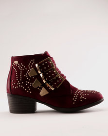 Miss Black Alishba Ankle Boot Red-Purple