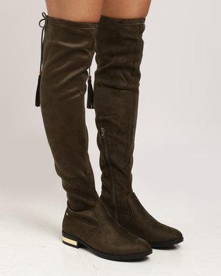 Miss Black Astra OTK Flat Boot Olive e00bf844f