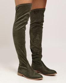 Miss Black Dima OTK Flat Boot Olive