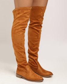Miss Black Dima OTK Flat Boot Tan