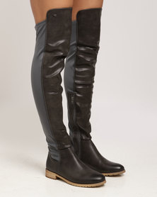 Miss Black Krabi OTK Flat Boot Grey