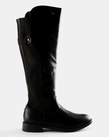 Miss Black Rainer Knee Flat Boot Black