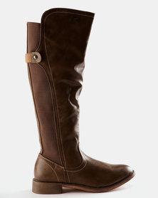 Miss Black Rainer Knee Flat Boot Taupe