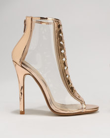 Footwork Amina Caged Heel Sandal Rose Gold