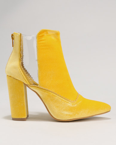 02e77abcd4d Footwork Cassera Block Heel Ankle Boot Yellow