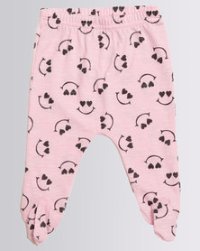 Creative Design Smiley Heart Eye Tights  Pink