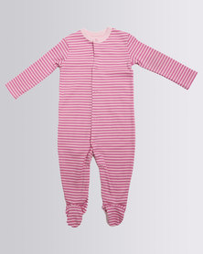 Creative Design Striped Long Sleeve Babygrow Pink