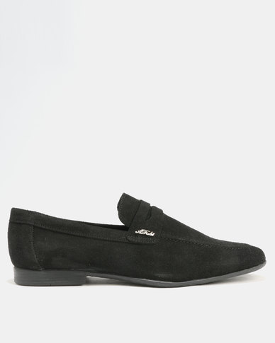 Anton Fabi Servero Suede Formal Slip On Shoes Black