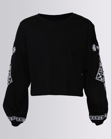 New Look Balloon Long Sleeve Embroided Top Black