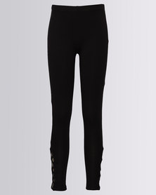 New Look Lattice Hem Leggings Black