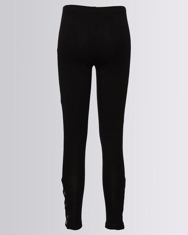 New Look Lattice Hem Leggings Black