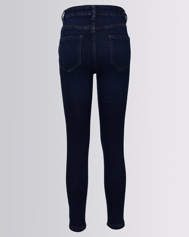 New Look Ripped Skinny Jeans Navy