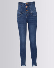 New Look High Waist Skinny Jeans Blue