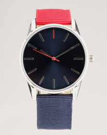 New Look 2 Colour Strap Watch Navy